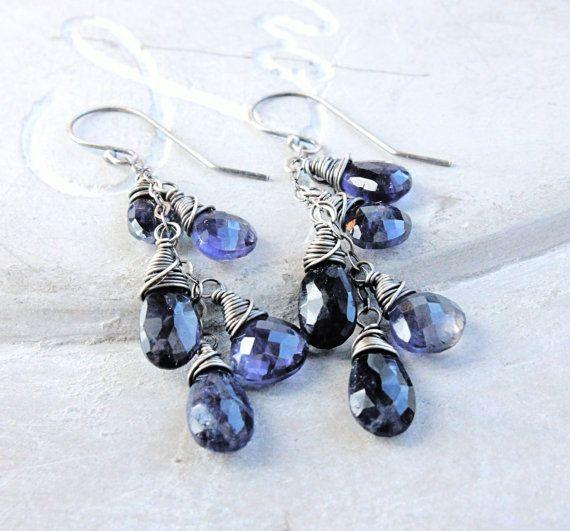 Cluster Earrings Blue Kyanite Purple Iolite Oxidized by Hildes