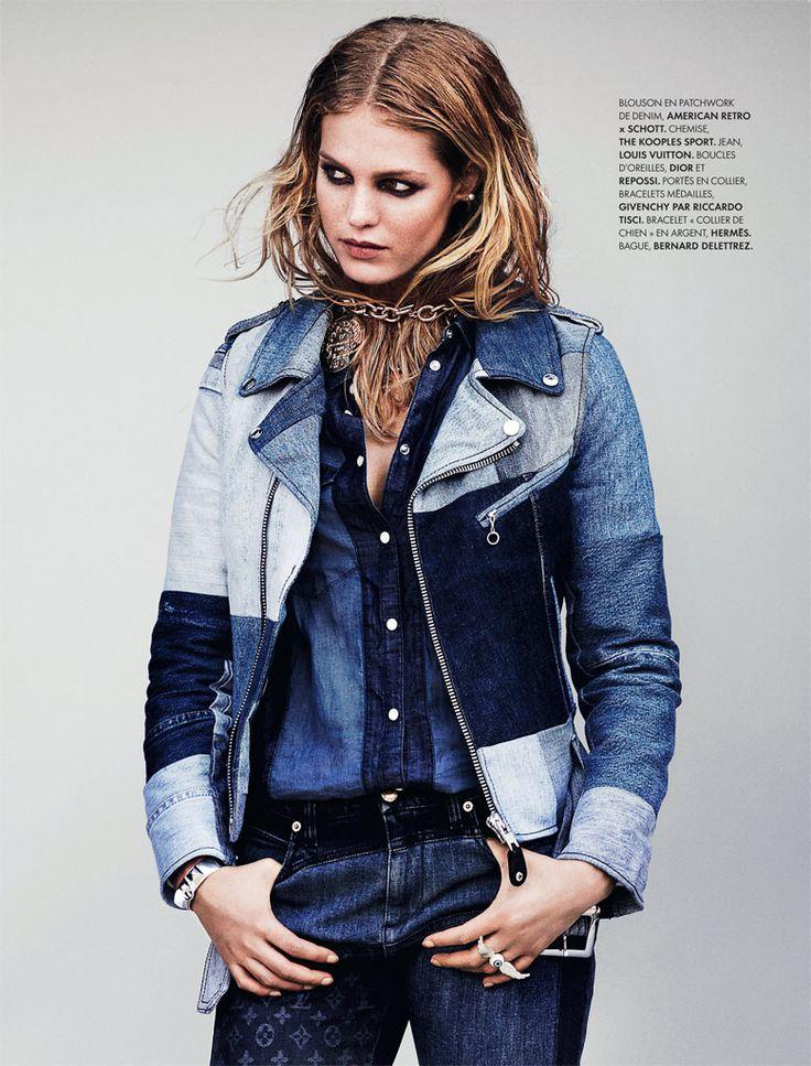 Erin Heatherton Models Denim Styles in Elle France by Bjarne Jonasson