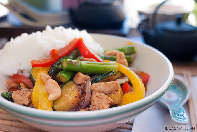 Gong Bao kylling med cashew | Millas Mat
