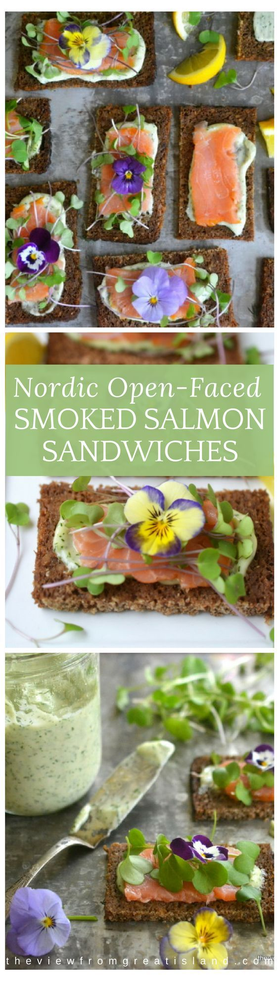 Nordic Open Faced Smoked Salmon Sandwiches are exquisitely delicate and healthy ~ this is clean eating that that also happens to be insanely delicious! #salmon #dill #nordicrecipes #smokedsalmon #brunch #appetizer #healthy #colorfulfood #edibleflowers #microgreens #toasts #homemademayo #scandinavianfood #ryebread #seafood