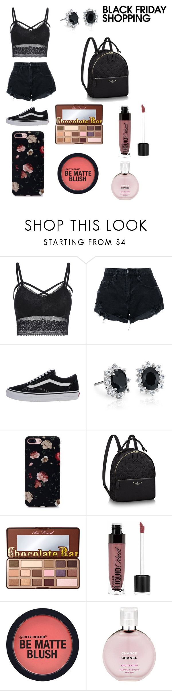"""Black Friday"" by amyrahbam ❤ liked on Polyvore featuring Nobody Denim, Vans, Blue Nile, Too Faced Cosmetics, Wet n Wild and Chanel"