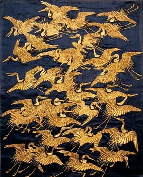 silk fukusa (gift cover) embroidered with a flight of cranes, japan, 1800-5 (edo period)