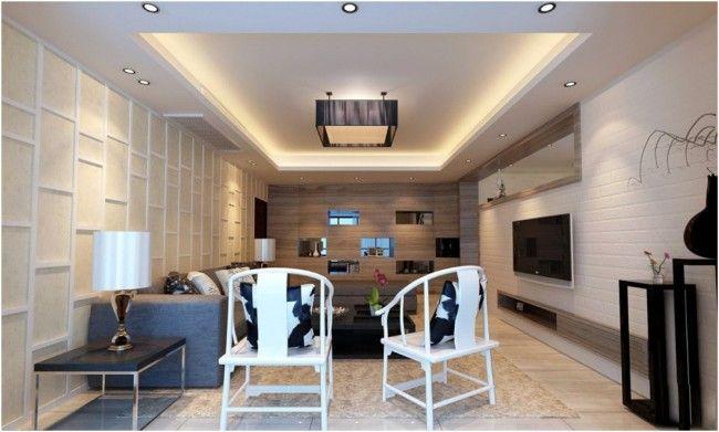 Modern dizájn egyszerű formákkal. Téglalap alakú álmennyezet ledes peremvilágítással.