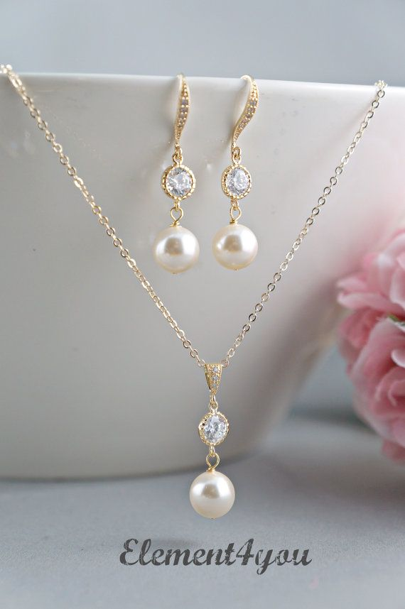 Bridal jewelry set Bridesmaid necklace earrings set Pearls Cubic Zirconia CZ Earrings Bridal party gift Delicate gold chain Maid of honor on Etsy, $34.00