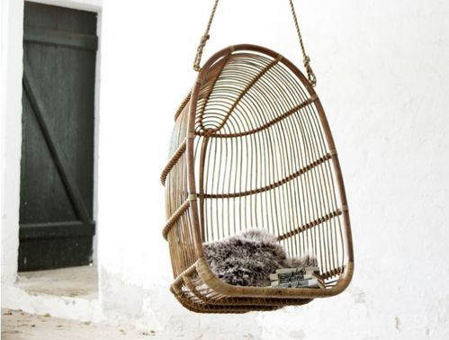 Renoir Hanging Chair by Sika Taupe Grey