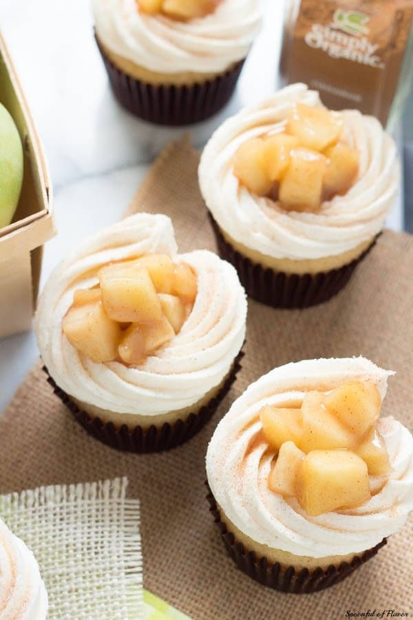 Apple Pie Cupcakes with Vanilla Buttercream Frosting - Spoonful of Flavor