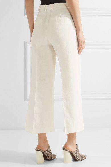 Theory - Nadeema Pleated Linen Wide-leg Pants - Ivory - US12