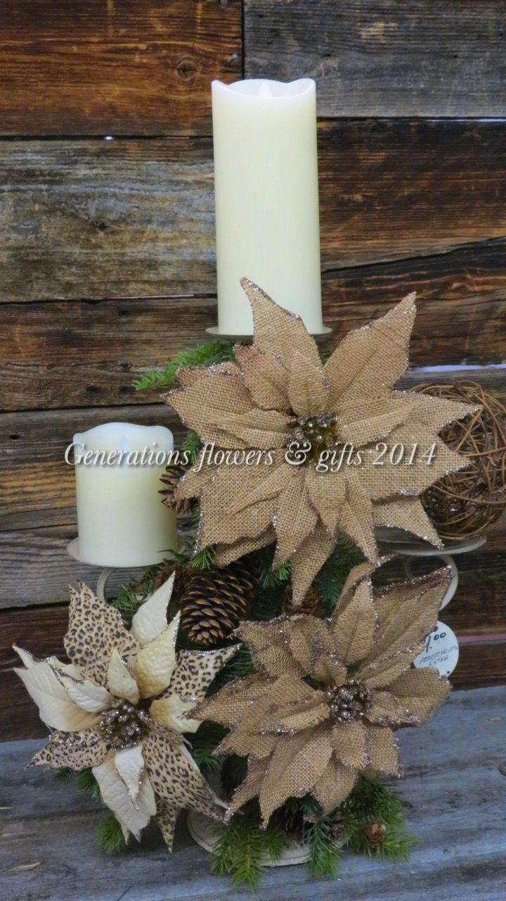 Three place Candle Holder with Burlap Poinsettias and RealLite Pillar Candles