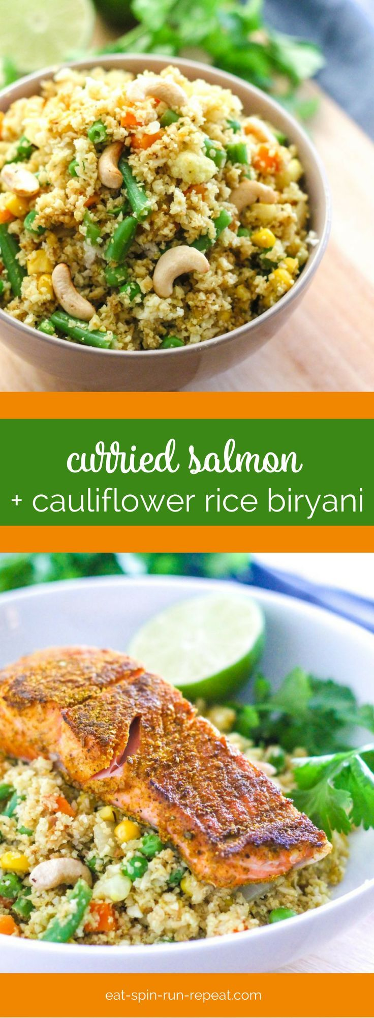 Curried Salmon with Cauliflower Rice Biryani + a free 1-day anti-inflammatory meal plan. Gluten-free, dairy-free, and full of health-building ingredients to help make you feel awesome!