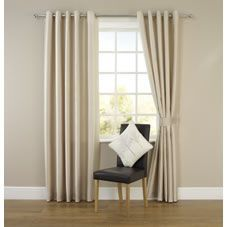 Dress your windows in elegant and stylish fashion with these beautiful faux silk eyelet curtains. Ready-made and ready to hang these luxurious lined curtains in our contemporary natural shade will complement and enhance all decors. The eyelet design makes them quick and easy to hang too so you can refresh any room in an instant. Pack includes a pair of matching tie-backs for a classic co- ordinated look. Keep away from fire. Always read instructions.