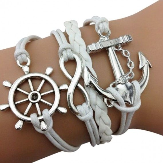 White Anchor Braided Bracelets