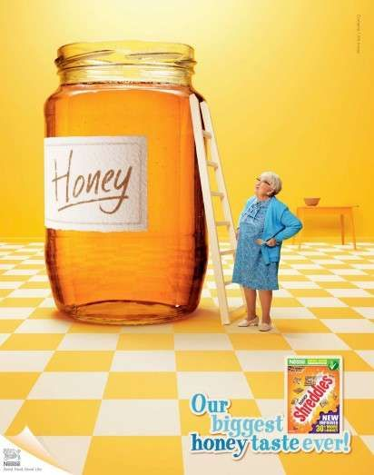 Colossal Cereal Campaigns:  The Honey Shreddies Ads Advertise Sweet Taste (by McCann, London)