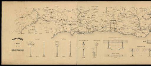 Pla general i detalls de la línia de transport elèctric (del Maresme a la Ribera d'Ebre). 1936. Conca de l'Ebre :: Fons FECSA (1914-1982) Institut Cartogràfic i Geològic de Catalunya
