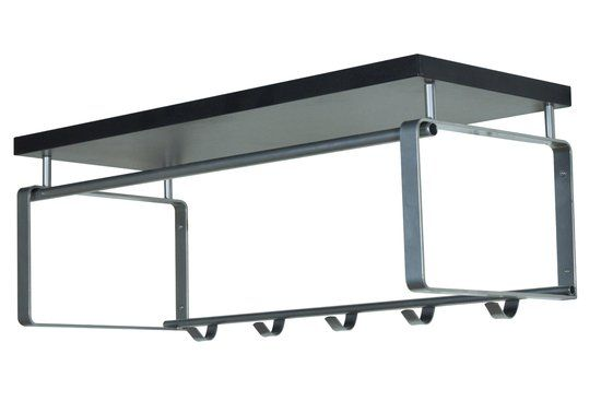 Spinder Design Rex 3 - Wandkapstok - 28 x 70 cm - Staal - Zwart - Met Nikkel Afwerking