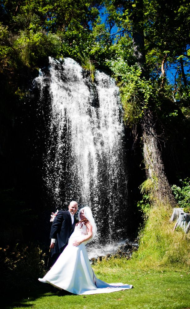 Waterfall Bride and Groom. Wedding Day Photos. Olympic View Golf Club Victoria Vancouver Island Weddings