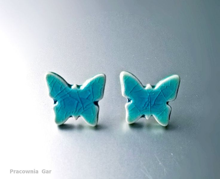 Ceramic earrings, handmade, turquoise butterflies...small jewerly , tiny stics.