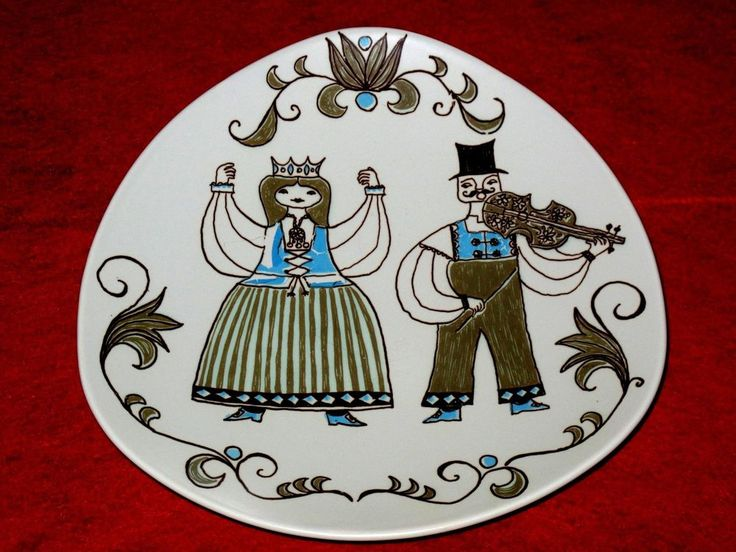 Vintage Figgjo Norway Turi Folk Art Queen Violin Triangular Plate Platter Dish