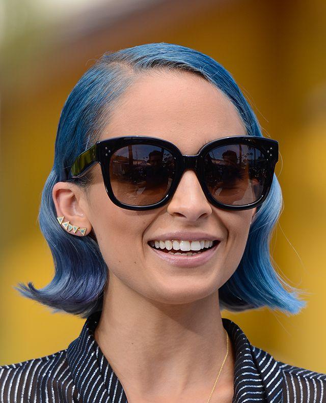 Nicole Richie's Hair is Blue Fire #hairinspo #bluehair #hairbob #shades #lob