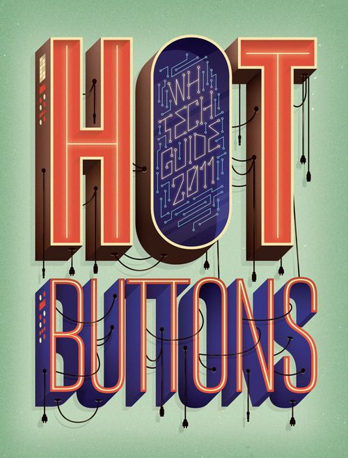 Hot Buttons - WH Tech Guide 2011: Womens Health, Graphic Design, Hot Buttons, Illustration, Adam Hill, Women Health, Typography