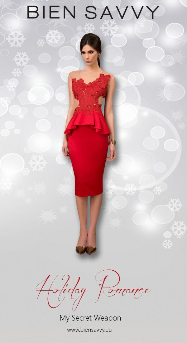Holiday Dresses 2016: Make a powerful impression with a full red cocktail gown. The peplum works wonders for the waist. The dress is My Secret Weapon, BIEN SAVVY, My Secret Collection