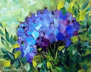 Sun Seeker Blue Hydrangea by Texas Flower Artist Nancy Medina, painting by artist Nancy Medina