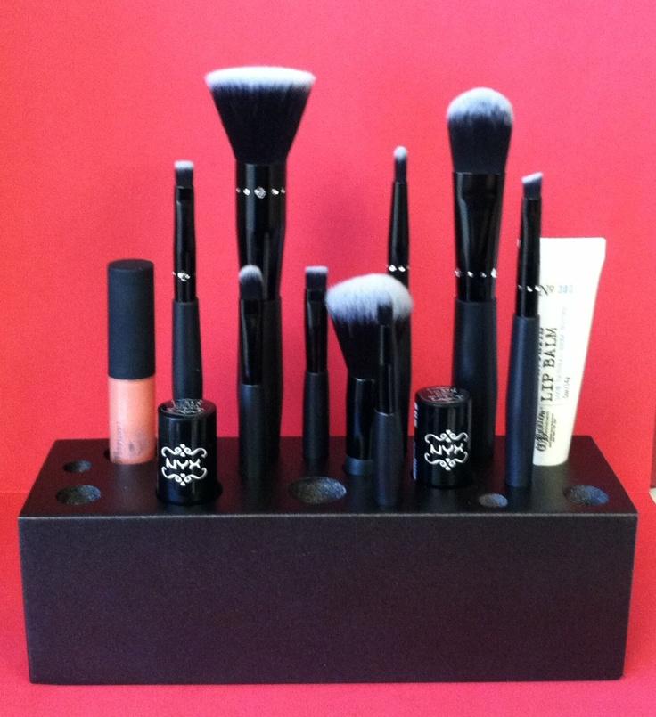 METALLIC Black Handmade Wooden Makeup Brush Holder