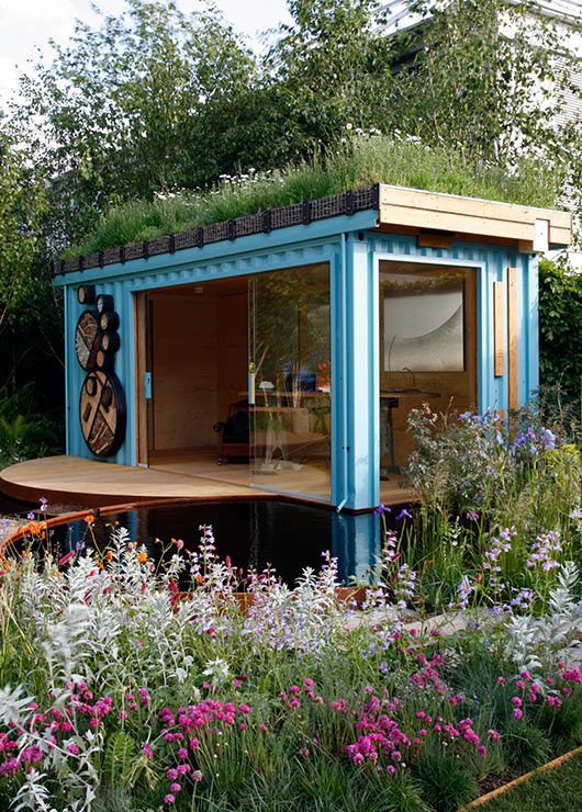 Beautifully designed Green Roofed Garden Gazebo - made out of recycled shipping container. It provides shelter for beetles, bees and other local insects to support biodiversity. Very clever! I LOVE this!!!!!! This is the office I want!