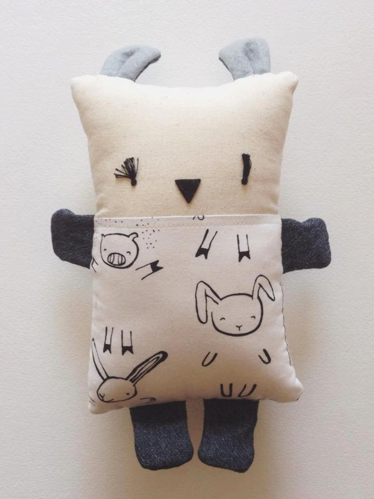 Pillow Children's Toy - Cushion kids - Puzzle - Pig - Rabbit - White Black - Eco-friendly - Natural And Recycled Materials - Made on request