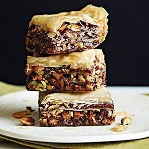 This is a simply amazing recipe—layers of crisp phyllo interspersed with mixed nuts and hazelnut-chocolate spread, with just enough butter to enhance the flavor yet keep the sat fat low. Baklava is a classic Mediterranean dessert that traditionally features layered phyllo dough, nuts, and syrup or honey. In this version, creamy chocolate-hazelnut spread adds rich, decadent flavor to this nutty, crowd-pleasing pastry. Because phyllo sheets are thin and delicate, handle with care so you won't…