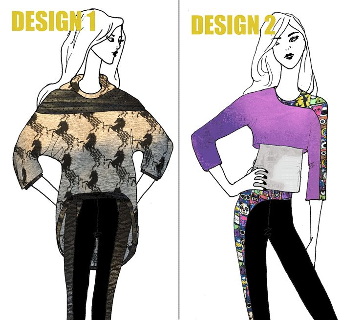 Athleisure wear design challenge on www.duellingdesigns.com Vote for your favourite.