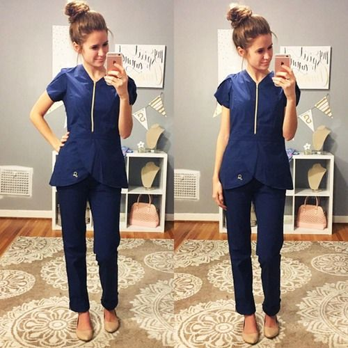 The Tulip Top in Estate Navy Blue - Medical Scrubs