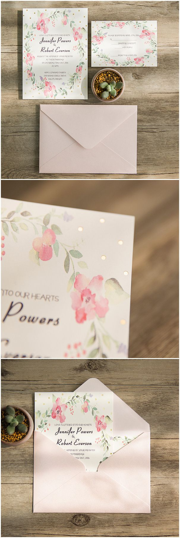 chic pink and green floral wedding invitations with foiled polka dots