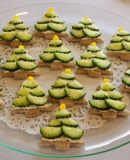 Cucumber Christmas Tree Sandwiches