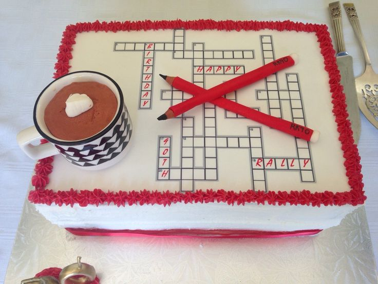 Cross word puzzle with cup of coffee cake