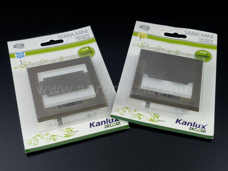 Kanlux Terra Mini és Sabik Mini lépcsővilágítók: 75x75 mm külső átmérőjű testek, üveg és fém felhasználásával.   A legmodernebb térben is megállják helyüket!  12 Voltról működnek és 2017. júniusában bruttó 4620 Ft/darab áron lehet megvásárolni.