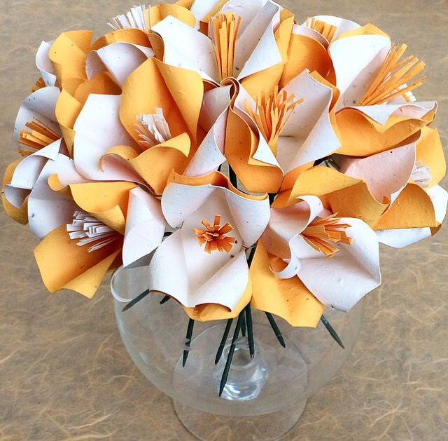 Handcrafted Cream U0026 Marigold Yellow Origami Flowers Made With Eco Friendly Plantable  Seed Paper!