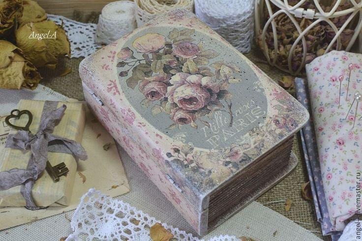 Купить Шкатулка - книжка - розовый, шкатулка, шкатулка декупаж, шкатулка деревянная, шкатулка-книга, розы