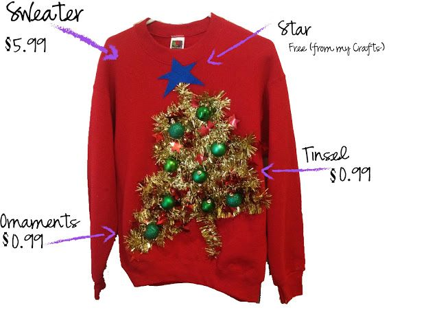 51 best ugly christmas sweater ideas images on pinterest ugly thrifty chic diy ugly christmas sweaters for this sweater i took rope tinsel from solutioingenieria Image collections