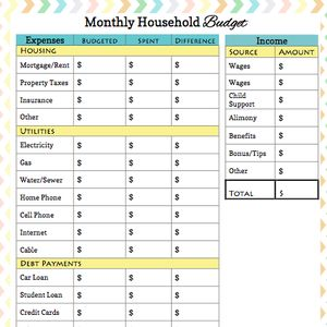 budgeting worksheet for students