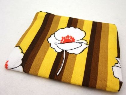 Yellow and tan floral zip purse
