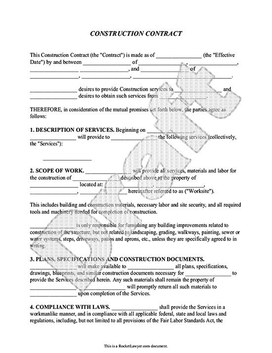 construction contract template contractor agreement contracts