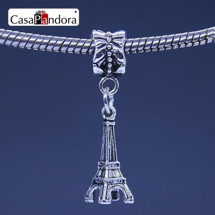 CasaPandora 925 Plated Tour Eiffel Tower Shape Pendant Fit Bracelet Charm DIY Bead Jewelry Making Pingente Berloque