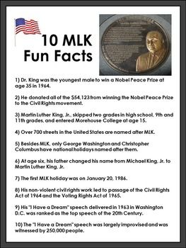 FREE Martin Luther King Jr Free: Your students will enjoy this FREE printable MLK 10 Fun Facts activity. This is a great activity for Martin Luther King, Jr. Day, any social studies classroom and/or during Black History Month.  https://www.teacherspayteachers.com/Product/Martin-Luther-King-Jr-Free-1641111
