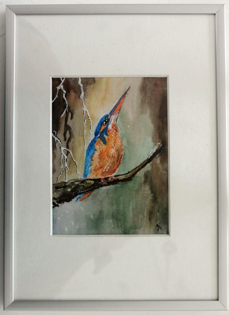 IJsvogeltje op tak  geschilderd J. Biemans