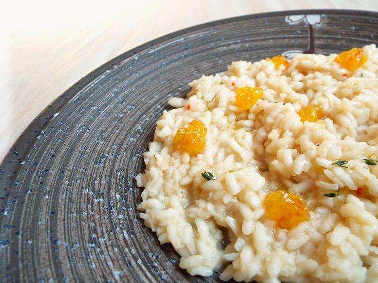 Risotto con baccalà, marmellata di arance amare, olio al timo, habanero