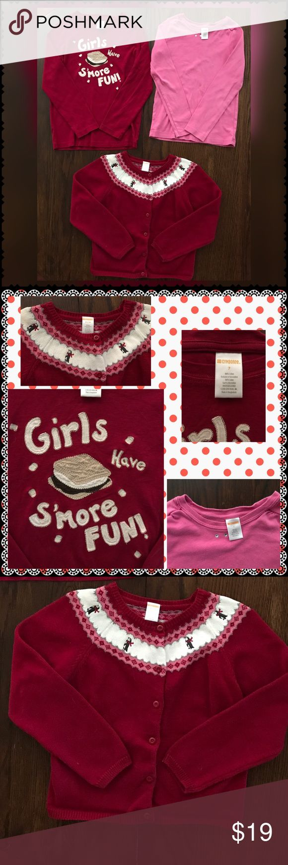 "Gymboree Top/Sweater Bundle ~ H1 One pink long sleeve top with rhinestones at the neck (7), long sleeve red top ""Girls Have Smores Fun"" (7), and Penguin 🐧 Sweater (7/8). All Gymboree. Great condition! Gymboree Shirts & Tops"