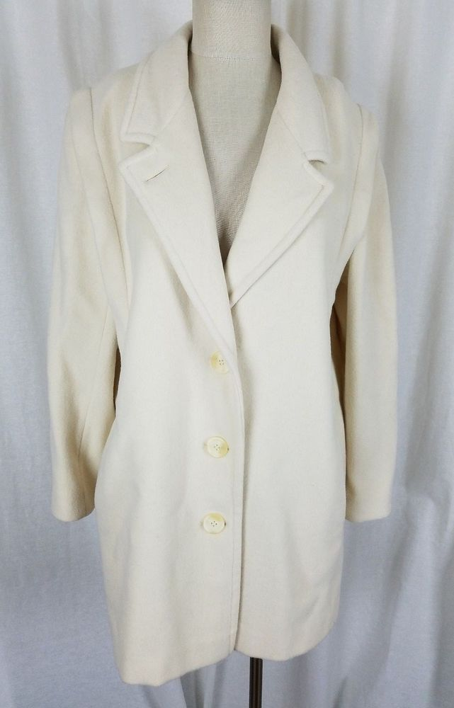 Vintage Forecaster of Boston White Wool Midi Long Peacoat Coat Womens 9 10 USA #ForecasterofBoston #Peacoat #Outdoor