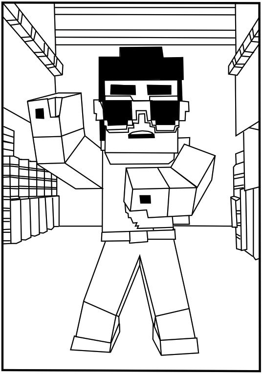Minecraft Gangnam Style Coloring Page