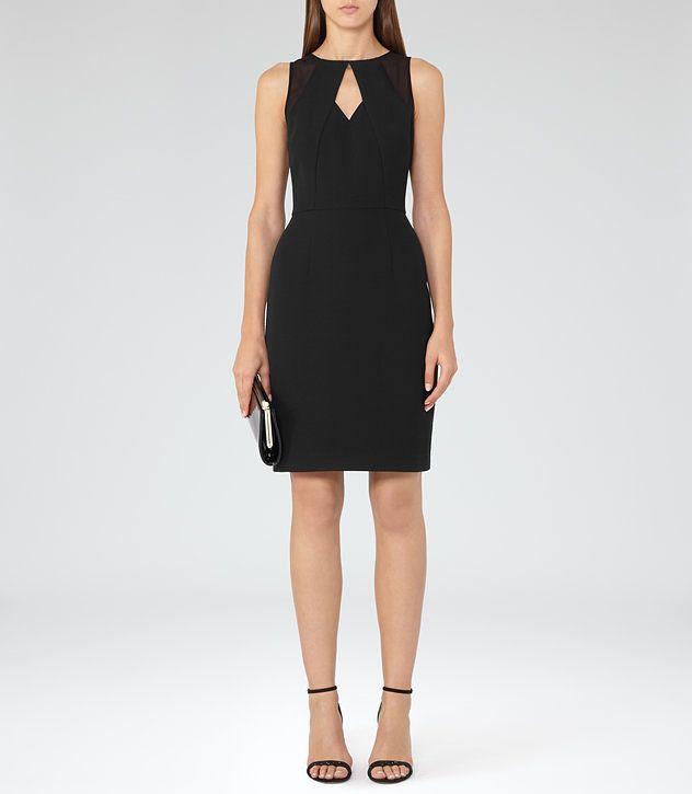 Calie Black Neckline-Detail Dress - REISS