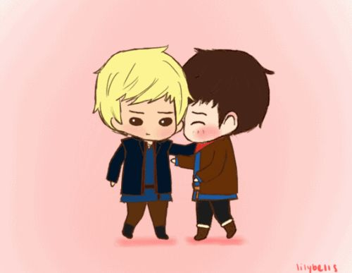 """Chibi!Merlin and Chibi!Arthur """"almost hug"""" with a twist at the end ^w^ (gif)"""
